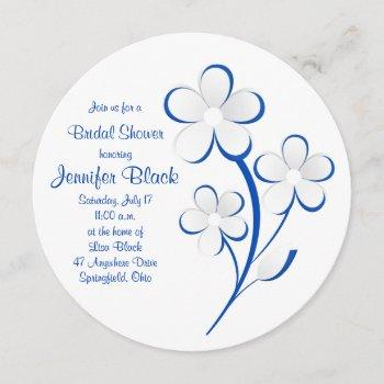 royal blue white daisy bridal shower invitation