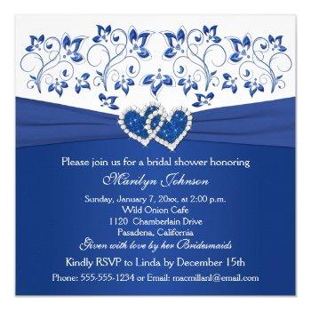 royal blue, white floral hearts bridal shower invitation
