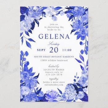 royal blue & white watercolor floral bridal shower invitation