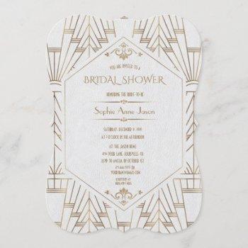 royal gold white great gatsby 1920s bridal shower invitation