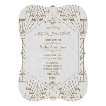 royal gold white great gatsby 1920s bridal shower invitation