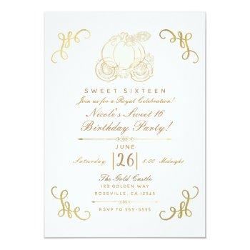 royal golden gold pumpkin carriage sweet 16 party invitation