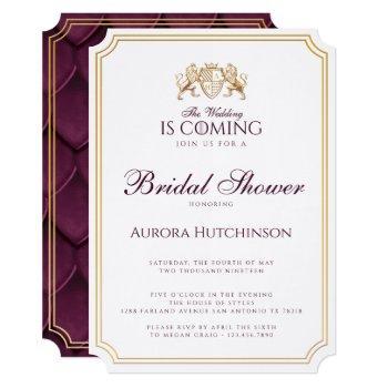 royal muse fantasy dragon scale bridal shower invitation
