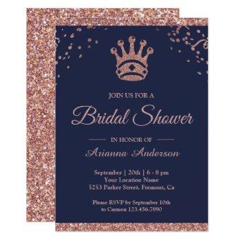 royal princess rose gold glitter bridal shower invitation