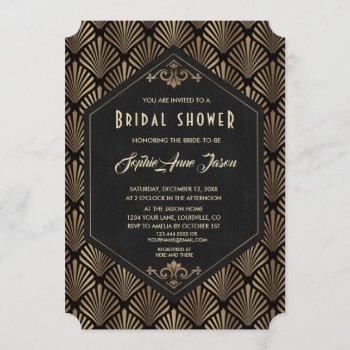 royal roaring 20's gold great gatsby bridal shower invitation