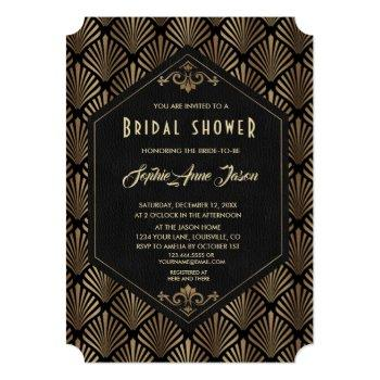 royal roaring 20's gold great gatsby bridal shower invitation