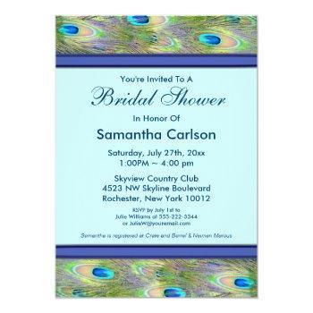 royal teal blue peacock bridal shower invitation