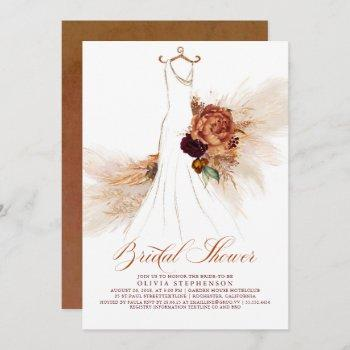 rust terracotta floral pampas grass bridal shower invitation
