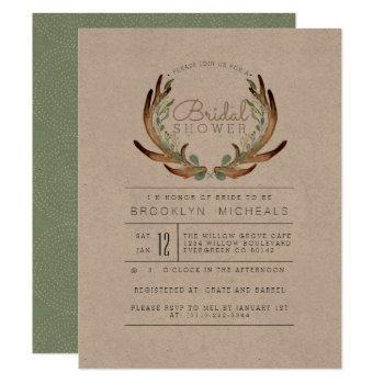 rustic antler and vine | kraft | bridal shower invitation