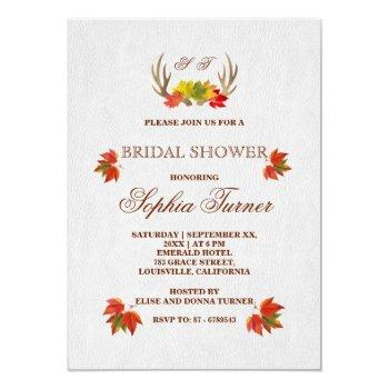 rustic antlers fall boho bridal shower invitation