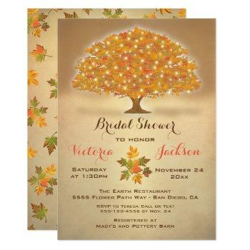 rustic autumn bridal shower with twinkle lights invitation