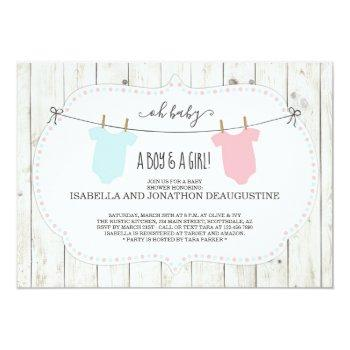rustic baby shower invitation for twins