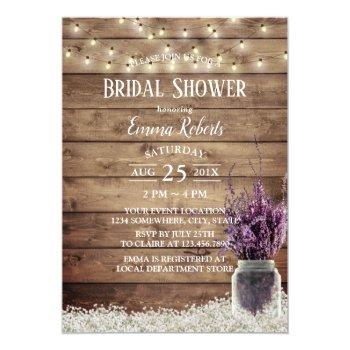 rustic baby's breath lavender floral bridal shower invitation