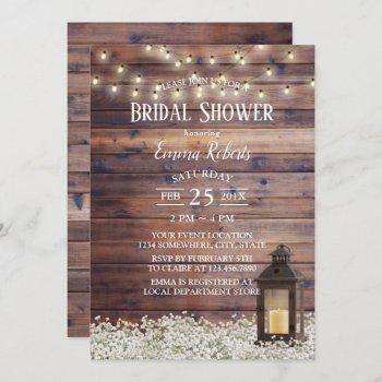 rustic barn lantern string lights bridal shower invitation