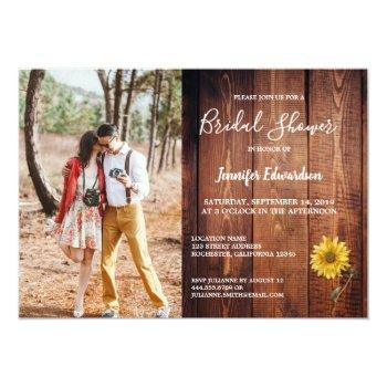 rustic barn wood photo sunflower country invitation