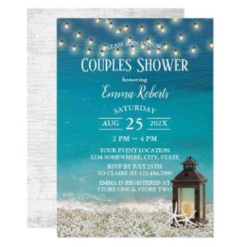 rustic beach lantern string lights couples shower invitation
