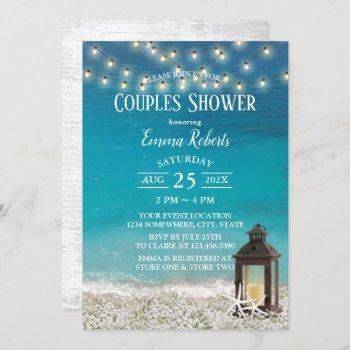 rustic beach lantern string lights couples shower invitation