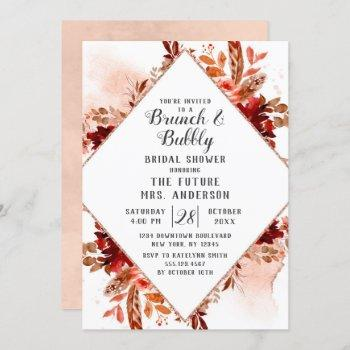 rustic beauty floral brunch & bubbly bridal shower invitation