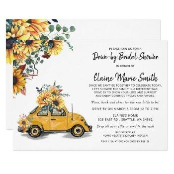 rustic beetle sunflowers drive by bridal shower invitation