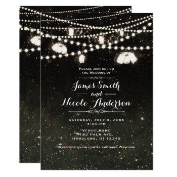 rustic black night sky mason jar lights wedding invitation