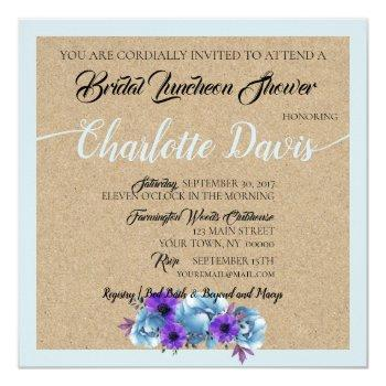rustic blue cottage roses wedding suite shower invitation