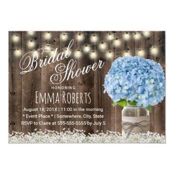 rustic blue hydrangea floral jar bridal shower invitation