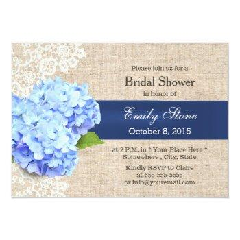 rustic blue hydrangea lace & burlap bridal shower invitation