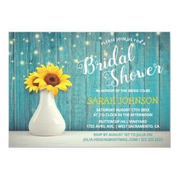 rustic blue wood | sunflower bridal shower invitation