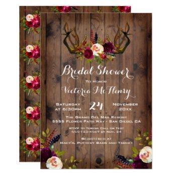 rustic boho bridal shower with deer antlers invitation