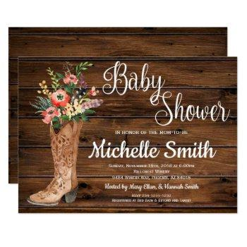 rustic boot country bridal western baby shower invitation