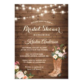 Rustic Boots Cowgirl Western Bridal Shower Invitation Front View