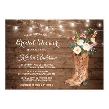 rustic boots floral string lights bridal shower invitation
