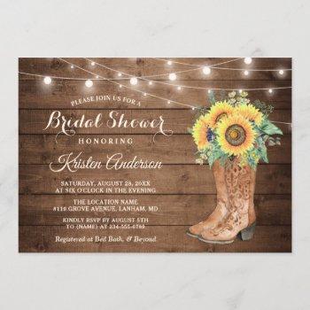 rustic boots string lights sunflower bridal shower invitation