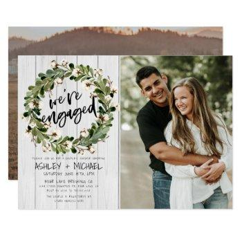rustic botanical wreath script 2 photo engagement invitation