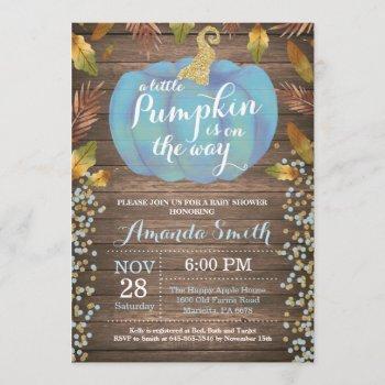 rustic boy pumpkin fall baby shower gold glitter invitation