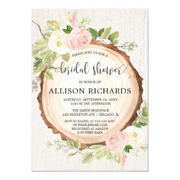 rustic bridal shower blush pink forest woods invitation