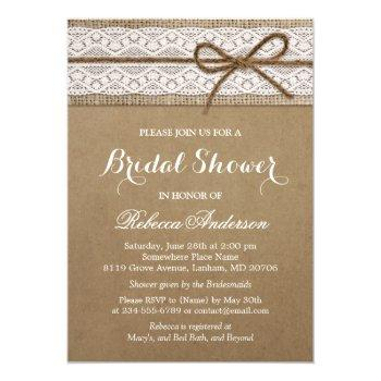 rustic bridal shower elegant lace burlap string invitation