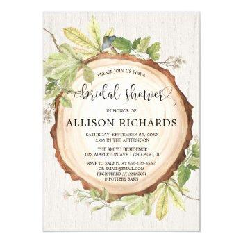 rustic bridal shower forest woods theme invitation