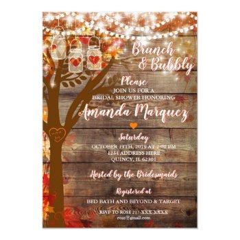 rustic bridal shower invitation brunch & bubbly
