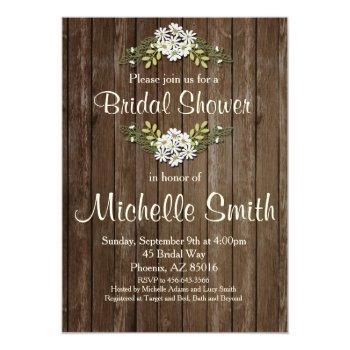 rustic bridal shower invitation, daisy, floral invitation