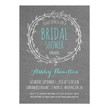 rustic bridal shower invite in gray and turquoise