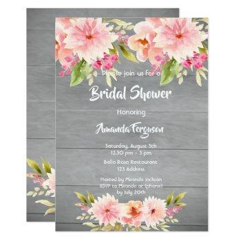 rustic bridal shower peach dahlia flowers brown invitation