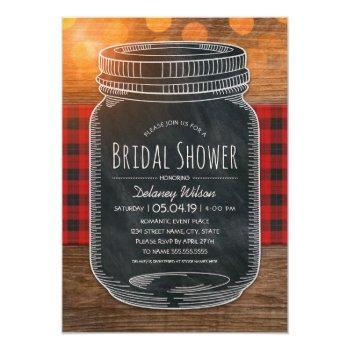 rustic bridal shower vintage chalkboard mason jar invitation