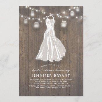 rustic bridal shower | wedding gown and mason jars invitation