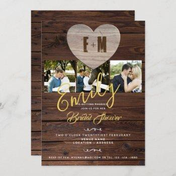 rustic bridal shower with photos invitations