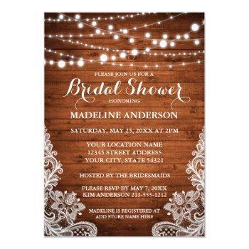 rustic bridal shower wood string lights lace invitation