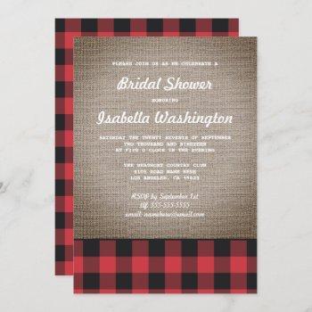 rustic buffalo plaid & burlap bridal shower invitation