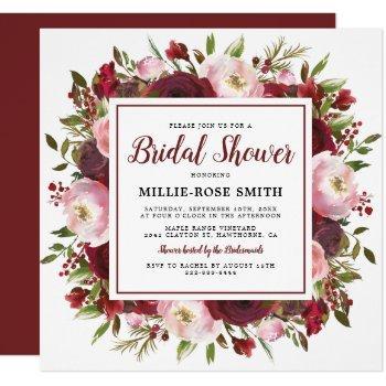 rustic burgundy blush flowers bridal shower invitation