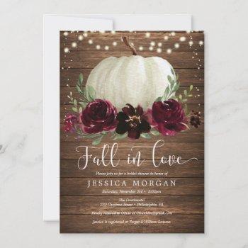 rustic burgundy fall in love bridal shower invite
