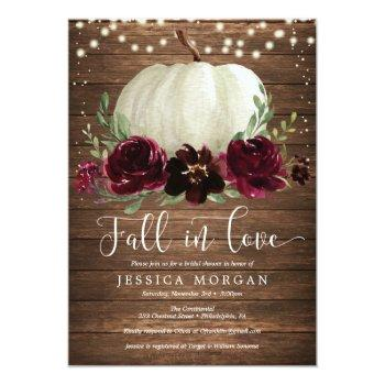 Rustic Burgundy Fall In Love Bridal Shower Invite Front View